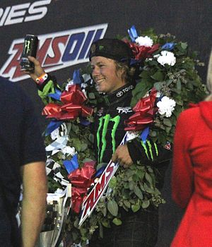 C. J. Greaves - Greaves celebrating his 2013 AMSOIL Cup win