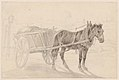 A Cart Drawn by a Brown Horse Near a Lamp Pole; Verso- A Group of Mounted Officers MET DP860664.jpg