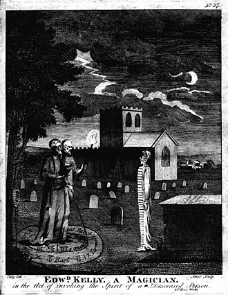 "Necromancy - Engraving of occultists John Dee and Edward Kelley ""in the act of invoking the spirit of a deceased person""; from Astrology (1806) by Ebenezer Sibly."