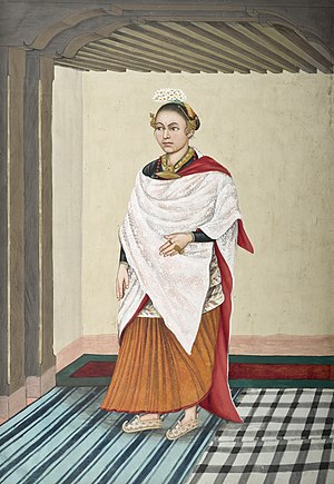 Newar caste system - An aristocratic Newar woman in parsi, circa 1860–1900