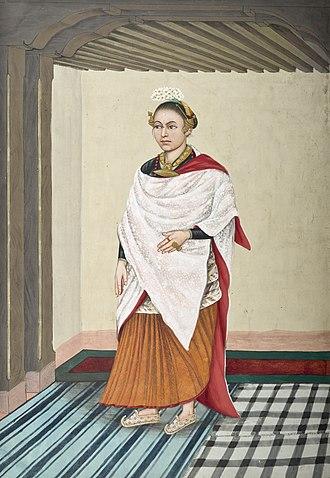 Newar caste system - An aristocratic Newar woman in parsi, circa 1860–1900