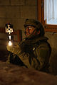 A Norwegian soldier provides light during a military adviser team and police adviser team training exercise Dec. 11, 2013, at the Hohenfels Training Area in Hohenfels, Germany 131211-A-RJ750-022.jpg