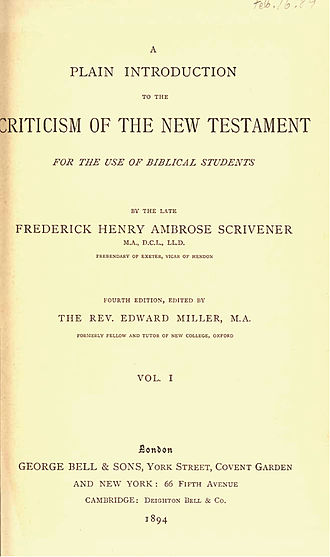 A Plain Introduction to the Criticism of the New Testament - Title page from the 4th edition