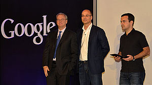 Android (operating system) - Eric Schmidt, Andy Rubin and Hugo Barra at a 2012 press conference announcing Google's Nexus 7 tablet