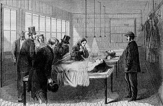 Bellevue Hospital - An engraving from 1866 showing the city's first morgue, located in Bellevue