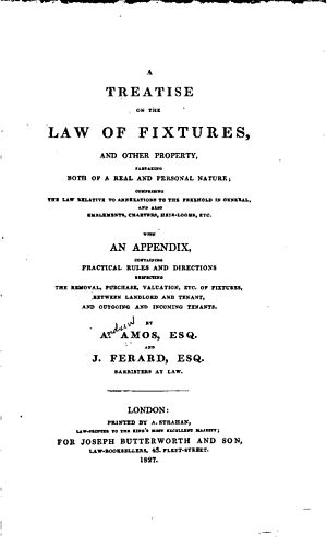 Andrew Amos (lawyer) - Image: A Treatise on the Law of Fixtures (1827, title page)