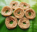 A banana leaf with Tamil bites - Murukku.jpg