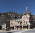 A block of Main Street that includes the 1886 Beaumont Hotel in Ouray, Colorado, an old mining community high in the San Juan Mountains of southwestern Colorado LCCN2015632314.tif