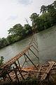 A bridge being built across Sesan River by villagers 2553.jpg