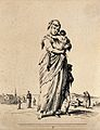 A woman in ragged clothing is carrying one child as another Wellcome V0020414ER.jpg