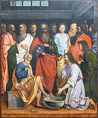 Giovanni Agostino da Lodi - Christ Washing the Feet of the Apostles (1500). Gallerie dell'Accademia, Venice.