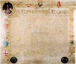 Акт о престолонаследии; крупным шрифтом выделено начало: «Вильгельм Третий, Божьей милостью»