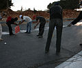 Activists block road to Karmei Tzur with barbed wire.jpg