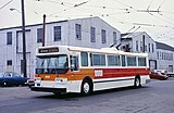 Ad-free Muni Flyer E800 trolley bus in 1983, on Mariposa St by Potrero Garage.jpg