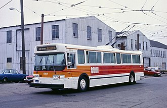 Trolleybuses in San Francisco - A 47 Van Ness Muni Flyer E800 trolley bus exiting service, 1983