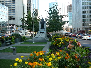 University Avenue (Toronto) - The Adam Beck Memorial is located in the landscaped median, between northbound and southbound lanes just south of Queen Street West