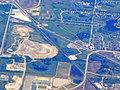Aerial view of Prairie Crossing station, June 2017.JPG