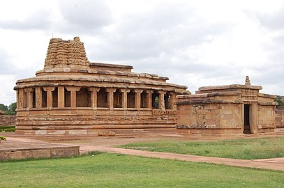 8th century Durga temple exterior view at Aihole complex. Aihole complex includes Hindu, Buddhist and Jain temples and monuments.