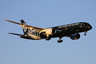 Air New Zealand fleet - Air New Zealand was the launch customer for the Boeing 787-9, shown here landing at its launch destination Perth Airport in Australia; the first was delivered to the airline in July 2014.
