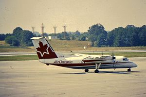Baltimore–Washington International Airport - Air Ontario Dash 100 C-GONW at BWI Airport in 1994.