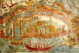 Wall Paintings of Thera - Minoan Town Fresco, Akrotiri, Thera.