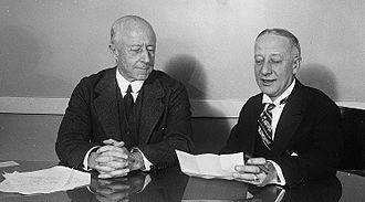 Al Smith (right) in December 1929 during his time as director of Empire State, Inc. Al Smith and Charles Francis Adams III.jpg