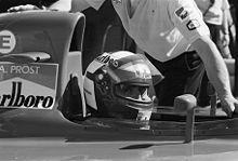 Alain Prost au volant de sa Ferrari au Grand Prix des États-Unis 1991