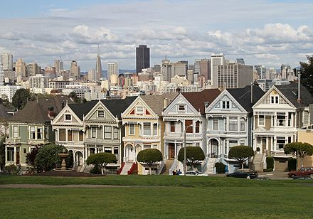 The Painted Ladies are an example of Victorian architecture found in San Francisco, California Alamo Sq Painted Ladies 1, SF, CA, jjron 26.03.2012.jpg