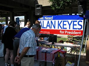 Alan Keyes - We Need Alan Keyes for President booth in Iowa, August 2007