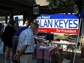 Alan Keyes - We Need Alan Keyes for President booth in Iowa, August 2007