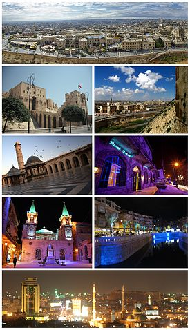 Ancient City of AleppoAleppo Citadel • The entrance to al-Madina SouqGreat Mosque of Aleppo • Baron HotelSaint Elijah Cathedral • Queiq RiverPanorama of Aleppo at night
