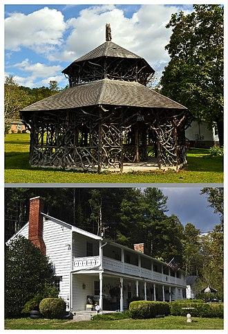 Alleghany Springs, Virginia - National Register of Historic Places in Alleghany Springs, Virginia. Top: Alleghany Springs Springhouse; Bottom: William Barnett House