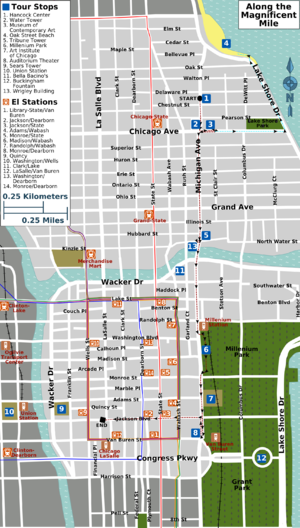 Magnificent Mile Chicago Map Along the Magnificent Mile – Travel guide at Wikivoyage