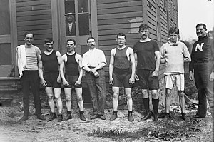 England Boxing - From left to right are: Hayes the trainer; Reuben Charles Warnes; W. W. Allen; secretary E. T. Calver of the Amateur Boxing Association of England; Alfred Spenceley; Frank Parks; Erskine; and Murray the trainer on May 13, 1911 in the United States on a tour of exhibition matches