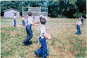 Amish children playing baseball, Lyndonville, New York.