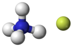 ball-and-stick model of an ammonium cation (left) and a fluoride anion (right)