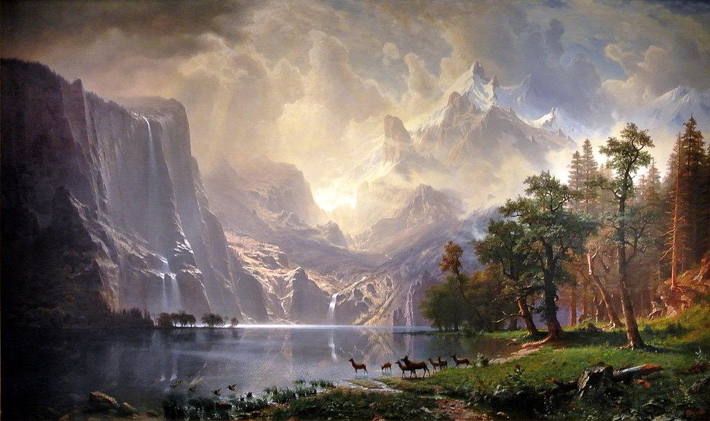 among the sierra mountains Among sierra nevada in california by albert bierstadt is printed with premium inks for brilliant color and then hand-stretched over museum quality stretcher bars 60-day money back guarantee and free return shipping.