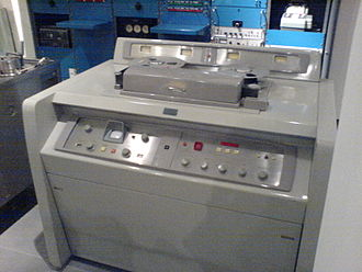 Video tape recorder - AMPEX quadruplex VR-1000A, the first commercially released video tape recorder in the late 1950s; quadruplex open-reel tape is 2 inches wide