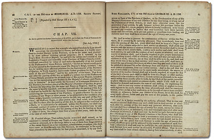 An Act to Prevent the further Introduction of Slaves and to limit the Term of Contracts for Servitude within this Province, Legislative Assembly of Upper Canada, 1793 An Act Against Slavery.jpg