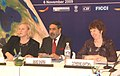 Anand Sharma, the EU Trade Commissioner, Ms. Baroness Catherine Ashton and the Minister for Trade, Sweden, Dr. Eva Bjorling at the CEOs Round Table, in New Delhi on November 06, 2009.jpg