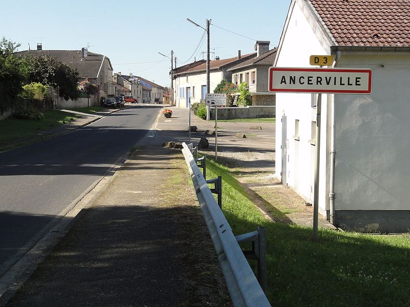 Ancerville (Meuse) city limit sign
