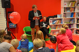Sune (book series) - Anders Jacobsson and Sören Olsson read from a Sune book during the 2014 Gothenburg Book Fair