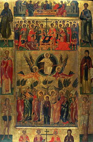 Icon: Ascension of Christ with the Hetoimasia