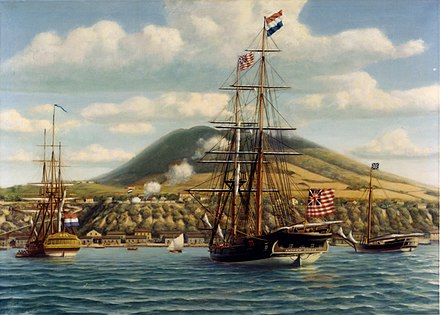 Andrew Doria receives a salute from the Dutch fort at Sint Eustatius, 16 November 1776.