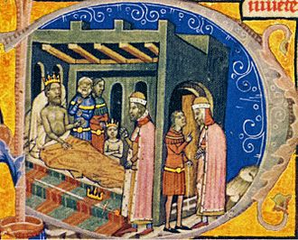 Andrew I of Hungary - The scene at Tiszavárkony depicted in the Illuminated Chronicle: the paralyzed Andrew forces his brother, Béla to choose between the crown and the sword