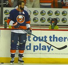 Andrew Ladd prior to a game during the 2016–17 season. Ladd signed with the  Islanders as a free agent during the 2016 off-season. 2106a18c8