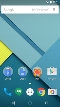 Android lollipop home screen with some stock google apps