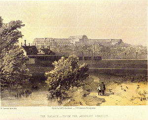 Anerley - Anerley Gardens, around 1860, Anerley Railway Station and The Crystal Palace can be seen in the Background