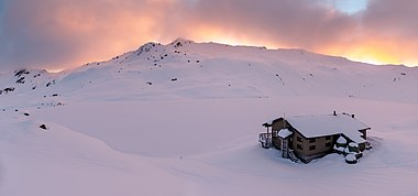 Angelus Hut in the winter, Nelson Lakes National Park, New Zealand.jpg