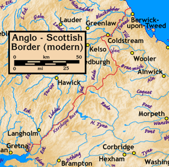 Anglo-Scottish border - Map of the modern border: Scotland is to the north and west and England is to the south and east